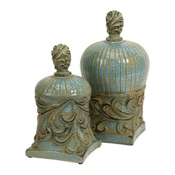 """Silver Nest - Green Smog Lidded Boxes- Set of 2- 13""""h - Cool blue tone highlights this set of two ceramic boxes inspired by architecture of ancient Rios, Greece."""