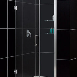 DreamLine - DreamLine SHDR-20447210S-01 Unidoor 44 to 45in Frameless Hinged Shower Door, Cle - The Unidoor from DreamLine, the only door you need to complete any shower project. The Unidoor swing shower door combines premium 3/8 in. thick tempered glass with a sleek frameless design for the look of a custom glass door at an amazing value. The frameless shower door is easy to install and extremely versatile, available in an incredible range of sizes to accommodate shower openings from 23 in. to 61 in.; Models that fit shower openings wider than 31 in. have an adjustable wall profile which allows for width or out-of-plumb adjustments up to 1 in.; Choose from the many shower door options the Unidoor collection has to offer for your bathroom renovation. 44 - 45 in. W x 72 in. H ,  3/8 (10 mm) thick clear tempered glass,  Chrome, Brushed Nickel or Oil Rubbed Bronze hardware finish,  Frameless glass design,  Width installation adjustability: 44 - 45,  Out-of-plumb installation adjustability: Up to 1 in. one side (total 1 in.),  Self-closing solid brass wall mount hinges,  Stationary glass panel with two glass shelves,  Door opening: 25 in.,  Stationary panel: 18 in.,  Material: Tempered Glass, Aluminum