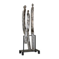 Uttermost - Agalia Family Figurine - Abstract, family figurine is made of antiqued, silver leaf metal with a black metal base.