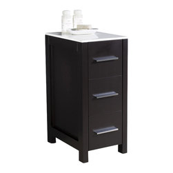 "Fresca - Fresca Torino 12"" Espresso Bathroom Linen Side Cabinet - This side cabinet comes in an espresso finish.  It has 3 spacious drawers and a sleek ceramic countertop.  Perfect match for all Fresca Torino ""espresso"" vanities."
