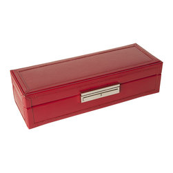 WOLF - Queen's Court Safe Deposit Case in Crimson - If you absolutely must travel with the family jewels, carry them someplace safe. This red-hot jewelry case is sleek and secure. Wrapped in embossed leather, it offers multiple storage compartments and a key lock closure for peace of mind.