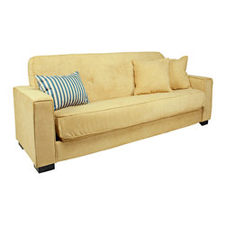 PORTFOLIO - Portfolio Alina Convert-a-Couch Butter Yellow Velvet Futon Sofa Sleeper - The Portfolio Alina Convert-a-Couch features a sofa sleeper with extra-wide squared arm design for additional comfort and a button tufted back cushion. The Alina futon sleeper sofa is covered in a a soft velvet like butter yellow fabric.