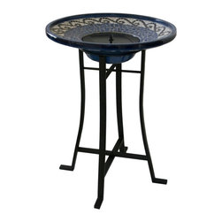 Smart Solar - Mosaic Ceramic Solar Birdbath with Metal Stand - Creates a relaxing atmosphere in your garden, or on your patio or balcony. Bowl is ceramic with hand laid tiles, base is steel with a black powder coated finish. Operates in direct sunlight only. Recycles water from a hidden reservoir. No wiring, simply install and enjoy. 20.75 in. L x 20.75 in. W x 28.75 in. H. No operating costs. Included: Birdbath, Solar Panel, Pump