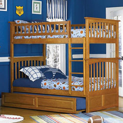 Caramel Latte Columbia Twin over Twin Bunk Bed - By adding the Caramel Latte Columbia Twin over Twin Bunk Bed with Raised Panel Trundle Bed - Atlantic Furniture to your child's bedroom you'll be creating the perfect sleep space. It can be used as a twin over twin or the beds can be separated and placed side by side. The stunning Caramel Latte finish combined with the Classic Mission Style makes this ideal for any room decor. Atlantic Furniture also uses a 5 step finishing process on every piece so that the beautiful color will look new for years. Top that, with the sturdy construction of using eco-friendly Rubberwood that's known for it's strength and beauty.