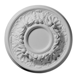 "Ekena Millwork - 7 1/2""OD x 2 1/2""ID x 1 1/8""P Odessa Ceiling Medallion - Our ceiling medallion collections are modeled after original historical patterns and designs. Our artisans then hand carve an original piece. Being hand carved each piece is richly detailed with deep relief, sharp lines, and a truly unique touch. That master piece is then used to create a mould master. Once the mould master is created we use our high density urethane foam to form each medallion.  The finished look is a beautifully detailed, light weight, solid construction, focal piece. The resemblance to original plaster medallions is achieved only by using our high density urethane and not vacuum formed, ""plastic"" type medallions.  - Medallions can be cut using standard woodworking tools to add a hole for electrical or a ceiling fan canopy. - Medallions are light weight for easy installation. - They are fully primed and ready for your paint.  If you have any questions feel free to ask. These are in stock and available for immediate shipment."