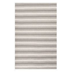 Jaipur Rugs - Jaipur Rugs Indoor-Outdoor Easy Care Polyester Gray/Ivory Area Rug, 3.5 x 5.5ft - Bring the comfort of inside, outside, with these reversible woven rugs. Stripes can coordinate and can be used in multiple areas of the home or patio.