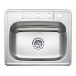 """Kingston Brass - Stainless Steel Gourmetier Self Rimming Single Bowl Sink Satin Nickel GKTS25227 - Single Handle Deck Mount, 1 Hole Sink Application, Fabricated from solid brass material for durability and reliability, Premium color finish resist tarnishing and corrosion, 180  Joystick type control mechanism, 1/2"""" - 14 NPS male threaded shank inlets, Duraseal washerless cartridge, 2.2 GPM (8.3 LPM) Max at 60 PSI, Integrated removable aerator, 6"""" spout reach from faucet body, 7"""" overall height.. Manufacturer: Kingston Brass. Model: KB1401GL. UPC: 663370085475. Product Name: Single Handle Mono Deck Lavatory Faucet with Retail Pop-up & Optional Deck Plate. Collection / Series: Georgian. Finish: Polished Chrome. Theme: Classic. Material: Brass. Type: Faucet. Features: Drip-free washerless cartridge system"""