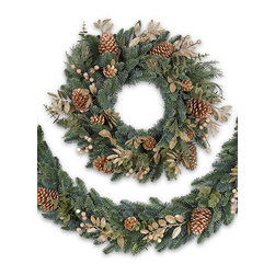 BH Noble Fir™ Gilded Decorated Wreath and Garland - THE REGAL ELEGANCE OF THE BH NOBLE FIR™ GILDED WREATH AND GARLAND |