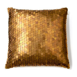 Nate Berkus™ Metallic Sequin Pillow - If you are looking for a glamorous pillow to add to your home, look no further. The antiqued brass sequins are applied in overlapping layers reminiscent of fish scales. This pillow definitely add lots of bling to any room.