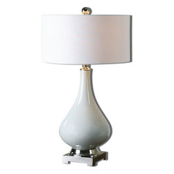 Uttermost - White Ceramic And Polished Nickel Helton Table Lamp With Drum Shade - White Ceramic And Polished Nickel Helton Table Lamp With Drum Shade