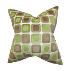 """The Pillow Collection - Oluchi Geometric Pillow Green 18"""" x 18"""" - Reinvent your living space with this accent piece for a fresh and modern look. This throw pillow features a unique geometric pattern in shades of green and brown on a white background. Crafted with 100% soft polyester material, this 18"""" pillow is made in the USA. Hidden zipper closure for easy cover removal.  Knife edge finish on all four sides.  Reversible pillow with the same fabric on the back side.  Spot cleaning suggested."""
