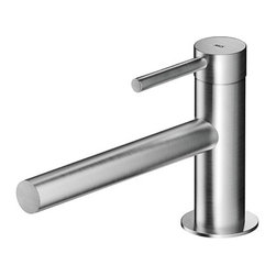 MGS - MGS Single Lever Sink Faucet With Pop-Up Drain MB235 | MGS - Made in Italy by MGS Faucets.A part of the Minimal Beauty Collection. The Italian-designed MGS Single Lever Sink Faucet With Pop-Up Drain MB235 is timelessly efficient. The straight extended spout of this single hole faucet utilizes a concealed aerator designed with laser-cut technology to create smooth and quiet water flow. With a handle that is built directly above the tap, this single hole faucet is clean and compact, perfect for vessel sinks and countertops with limited space. Select from a matte or polished stainless steel finish to suit your ideal washroom style. Product Features: