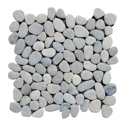 """Indo Tile - Gray Pebble Tile, Carton - 100% natural Indonesian Balinese gray pebble tile hand assembled on interlocking mesh pattern for a seamless pebble tile mosaic. Price is per sheet or one square foot.Each pebble tile is a standard tile thickness of 3/8 inches and set on a 12""""12 interlocking mesh backing for easy installation. PRICED PER SQUARE FOOT."""