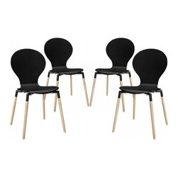 Modway Imports - Modway EEI-1369-BLK Path Dining Chair Set of 4 In Black - Modway EEI-1369-BLK Path Dining Chair Set of 4 In Black