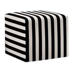 Black and White Canopy Stripe Upholstered Cube Ottoman - Create a focal point in your living room with a handsome black and white striped cube ottoman.
