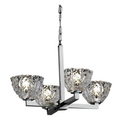 Justice Design - Modular 4-Light Chandelier - Gold with Clear Rim/Polished Chrome - Recommend the use of clear bulbs with Clear Textured (CLRT) glass shades. For Bowl w/ Rippled Rim shade (-36), use 60W A-15 incandescent bulb.