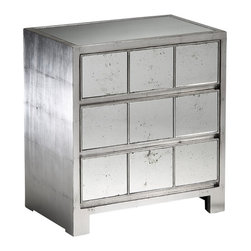 "Inviting Home - Silver Mirrored Chest - mirrored chest with antiqued silver-leaf finish; 26""W x 16""D x 28-1/4""H; Rectangular mirrored chest with antique silver leaf finish. This chest has antiqued mirrored top and three drawers with antiqued mirrored panels."