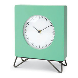 Color Brick Clock in Aqua - Time stands still for the retro stylings of this funky table clock. A bright splash of color and cool hairpin legs make it a fun way to jazz up your desktop.