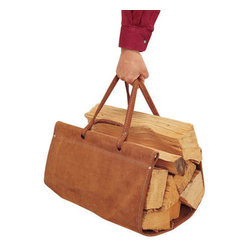 Pilgrim - Log Carrier, Brown Suede - This handsome and useful log holder will come in handy during fireplace season. It will be useful whether you are using it to carry wood inside to your wood-burning fireplace or stove, or if you need it for an outdoor fireplace or firepit. Top grain suede holder has double-sewn seams and rivets for strength. We recommend that you store this log carrier inside when not in use.