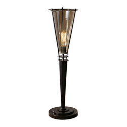 Uttermost - Uttermost Frisco Black Metal Accent Lamp - Frisco Black Metal Accent Lamp by Uttermost Rustic Black Metal Accented With A Plated Cognac Tinted Glass Hurricane. 40 Watt Antiqued Style Bulb Included.