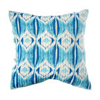 """Rhadi Living - Medallion Pillow Eurosham 26x26"""" Blue/Green - Inspired by ikat and medallion block prints, this medallion, ikat and zig zag design repeats randomly over a great expanse of white in two color ways.  The print catches your eye as you try to follow the mesmerizing patchwork and repeat. Each quilt and sham is handmade, hand printed with cotton voile and cotton batting. Machine wash cold separately, delicate cycles, tumble dry low, do not bleach, iron at medium setting if necessary."""