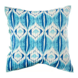 "Rhadi Living - Medallion Pillow Eurosham 26x26"" Blue/Green - Inspired by ikat and medallion block prints, this medallion, ikat and zig zag design repeats randomly over a great expanse of white in two color ways.  The print catches your eye as you try to follow the mesmerizing patchwork and repeat. Each quilt and sham is handmade, hand printed with cotton voile and cotton batting. Machine wash cold separately, delicate cycles, tumble dry low, do not bleach, iron at medium setting if necessary."