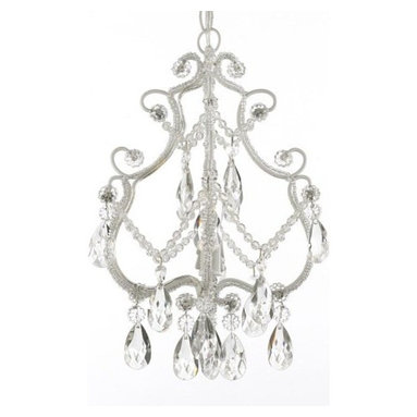 The Gallery - Wrought Iron Crystal chandelier Single Light - This beautiful chandelier features a single-light design and is decorated and draped with crystals that capture and reflect the light of the candelabra bulb. The wrought iron frame adds the finishing touch to a wonderful fixture.