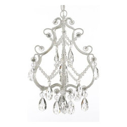 "The Gallery - Wrought Iron Crystal Chandelier Chandeliers Lighting H12""x W8.5"" - This beautiful chandelier features a single-light design and is decorated and draped with crystals that capture and reflect the light of the candelabra bulb. The wrought iron frame adds the finishing touch to a wonderful fixture.      Setting: Indoor     Fixture finish: White     Number of lights: 1     Requires one (1) 25-watt candelabra bulb (not included)     Dimensions: 12 inches high x 8.5 inches wide"