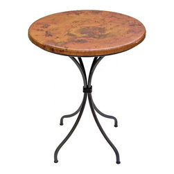 "Mathews & Company - Italia 36"" Counter Table with 30"" Round Top - Our Italia Dining Room, Kitchen, Recreational Room features a beautifully hand-forged iron base available in 4 popular finishes. The Italia Dining Room, Kitchen, Recreational Room base can be fitted with a handcrafted table top of your choice - We have 30"" round Copper, Marble, or Old World Pine. You can also purchase the base alone and use your own custom table top. This table is built with extraordinary attention to detail, from the perineum materials and finish to the inset foot pads and solid welded construction. With a 1.5"" thick top this table has a comfortable 36"" table height. Pictured in Copper top and Black finish."