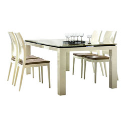 Rossetto - Rossetto Diamond 5 Piece Rectangular Dining Table Set in Ivory - Rossetto - Dining Sets - R700AD20000545PcDiningSetPKG