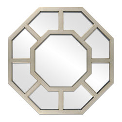 """Enchante Accessories Inc - Aluminum Framed Wall Mirror 24"""" Octagon (Silver) - Aluminum Framed Octagon Wall MirrorDecorative design with a weathered finish for a vintage lookPerfect Foyer MirrorVersatile design that can be hung in any hallway, living room, bedroom, or entrywayMeasures 26 in. DiameterMirrors not only reflect your image, but they reflect your style.  The types of mirrors you choose to hang in your home not only provide function, but act as a great accent piece that shows your sense of style apart and reflects your taste.  Made from durable wood and accented with distressed finishes, beveled edges, and weathered details that give them a rustic, vintage look, these mirrors add beauty to any wall in any room of the house.  Perfect for use in an entry way, a hallway, a dining room, a living room, or a bedroom, these rustic mirrors have that vintage inspired French country look that adds instant charm and casual comfort to any home. For a unique look and an interesting display, hang mirrors of different sizes, shapes, and colors on the same wall.  Mirrors help to add texture and dimension and create the illusion of a larger space.  By hanging multiple mirrors in a small space, you can create interest and increase the perceived size and feel of the space around you.  Available in both rectangular shapes and rectangular shaped frames with oval mirrors in the center, these rustic wood mirrors come in a variety of color finishes that have a neutral appeal and can be easily coordinated with any type of rustic furniture or shabby chic room decor. With the look and feel of a treasured family heirloom, these mirrors are aged and weathered to give them a vintage look and evoke a sense of old fashioned spirit.  Reminiscent of something you may have once seen in a charming country cottage, these wooden mirrors let you check out your own reflection as well as reflect the beautiful room around you.  The antique look makes them the perfect addition to any casual space wh"""