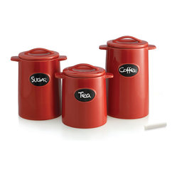 Jay Import Co. - Chalkboard Canisters, Set of 3, Red - Practicality meets design in these storage canisters that you needn't hide in the pantry.  Set these sturdy beauties on your countertop for easy access to dry goods as you whirl around your kitchen. You can even add a bit of whimsy by giving each one a clever name!