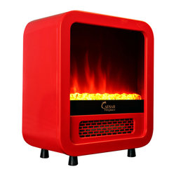 Caesar - Room Space Heater Mini Portable 1500W Electric Fireplace LED Flame, Red - - Perfect for bedroom, den, office, dorm, or anywhere that needs a little warmth