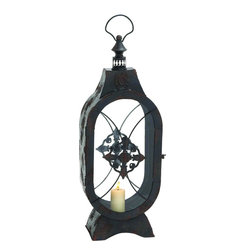 """Benzara - Customary Styled Shanghai Metal Glass Lantern - Spread ethnicity in your house with this traditional styled metal crafted lantern. This lantern has a brown finish with accents and glass shades with metal accents. This lantern has a ring styled holder that help you carry it easily and hook it on any wall of your choice. Add any color candle to the light and its warm glow will give a vintage touch to your ambiance. This lantern is suitable for indoor as well as outdoor use. You can thus add it to the porch to.The good quality built of the lantern will keep it in good condition for years together. Apart from using it for the dwelling, you can add it to customary styled restaurants and wedding halls too. Recommend it to relatives who are looking for a lantern like this or wrap it well and surprise friends, relatives and other loved ones by presenting them this. This glass lantern measures 8 inches (Width) x 5 inches (L) x 20 inches (Height) ; Brown finish with accents; Ring styled hanger; Dimensions: 10""""L x 6""""W x 18""""H"""