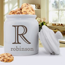 Family Initial Personalized Ceramic Cookie Jar - Cookies taste even better when you've got the Family Initial Personalized Ceramic Cookie Jar in your kitchen. The sturdy ceramic construction features clean, classic lines, and the tight-fitting lid keeps sweet treats fresh. Personalize with one large initial and a name up to 12 characters.About JDS MarketingLike many great start-ups, JDS Marketing started in a garage. It was 1992 when brothers Steve and Jeff Deters came up with their concept of developing a unique line of personalized wedding party gifts. JDS Marketing is based in Minnesota and delivers unique gifts that have been personalized by sublimation, diamond engraving, laser etching, digital printing, embroidery, and screen printing. JDS currently supplies personalized gifts to over 2,000 retail accounts, shipping several hundred gift orders each day.