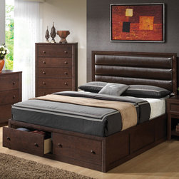 "Wildon Home � - Harrison Platform Bed - Create a rich atmosphere with this storage bed. It Features a three tiered upholstered headboard for a comfortable back rest to your pillows. Keep additional blankets, clothing or sheets stored in the two drawer footboard storage. Features: -Metal glide.-Contemporary style.-Under bed storage.-Dovetail drawers.-Box spring or foundation not required.-Finish: Cappuccino.-Harrison collection.-Distressed: No.-Collection: Harrison.Dimensions: -Queen Dimensions: 50"" H x 83.75"" W x 63.5"" D.-King Dimensions: 50"" H x 83.75"" W x 75.25"" D.-California King Dimensions: 50"" H x 88.75"" W x 79.25"" D.-Overall Product Weight: 23 lbs."