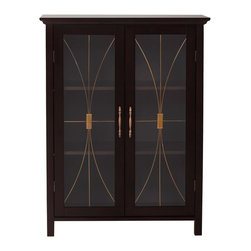 None - Veranda Bay Dark Espresso 2 Door Floor Cabinet - Add a classic look of elegance to your home decor with this espresso, two-door floor cabinet. This cabinet features tempered glass doors and Brushed Bronze finished hardware. The clear doors make it a great way to store and display china valuables.