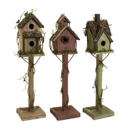 iMax - iMax Carthage Standing Birdhouse Set X-3-49092 - Set of three standing weathered birdhouses in varying colors and shapes, exclusive to IMAX.