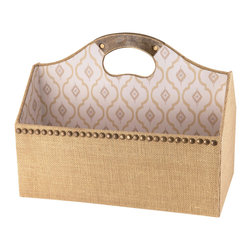 Enchante Accessories Inc - Raymond Waites Burlap File Tote - Home Office Desk Top Designer Organizer CollectionPrinted Fabric with Decorative DesignsTextured Fabric Base Part of the Raymond Waites Home & Design CollectionUse as a table top organizer or in draw sectional trayThe Raymond Waites Collection of home office organizers featuredesigner printed fabrics and is perfect decorative organizer to hold your paperwork and office supplies. Use in your home office to keep your desk in order.