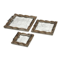 """IMAX CORPORATION - Santiago Wooden Trays - Set of 3 - With galvanized metal framed in tanoak, the Santiago trays are both handsome and functional with a vintage finish and sturdy construction. Whether serving breakfast in bed or displaying under a table top centerpiece, you will love this set of three trays. Set of 3 in various sizes measuring around 19.5""""H x 19.5""""W x 4.5"""" each. Shop home furnishings, decor, and accessories from Posh Urban Furnishings. Beautiful, stylish furniture and decor that will brighten your home instantly. Shop modern, traditional, vintage, and world designs."""