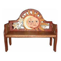 Eclipse Hand Painted Mexican Wood Bench - Look at this bench! Hand carved and painted. Each one is slightly different and unique. Mexico's best.
