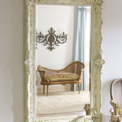 """""""Antique White"""" Mirror - Perfect for your French Country, shabby chic or cottage home, this large mirror with beveled edge is causally elegant.42""""W x 5""""D x 67.5""""T."""
