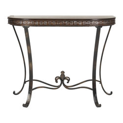 Safavieh - Richard Demilune Console - An industrial-chic update of the Queen Anne pedestal table, Barnaby conjures images of an architectural drafting stool. Solidly crafted from birch wood, with distressed dark Java finish, this table is perfect beside a sofa or chair in traditional and transitional rooms. Assembly required.