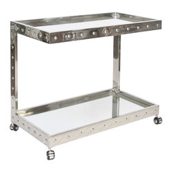 "Worlds Away - Worlds Away Vince Polished Stainless Steel Bar Cart - The Worlds Away Vince bar cart marries elegant allure with an edgy c-shaped design. Framing two mirrored shelves, the polished silver side table's studded detailing provides the modern dining room a contemporary accent. 36""W x 20""D x 30""H; Stainless steel; Includes wheels for easy mobility"