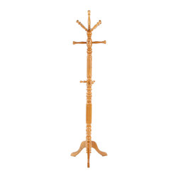 Adarn Inc. - Super Deluxe Warm Oak Solid Wood Coat Hat Rack Turned Post Sturdy Heavy - Place this turned post coat rack in your hall or entryway for a stylish greeting for guests. A pedestal base provides sturdy support for the turned post at its center, while three tiers of coat cooks that march along the intricately carved post provide plenty of hanging space for jackets, coats and hats. A warm oak finish wraps the entire piece and bathes any space in a subtle golden glow.