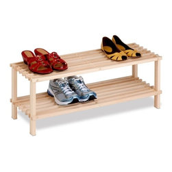 2-Tier Unfinished Natural Wood Shoe Rack - Honey-Can-Do SHO-02151 2-Tier Shoe Rack.  This shelving unit is the perfect combination of function, versatility, and style. The unit can display 6-8 pairs of shoes beautifully, and more for smaller sizes. Open slats allow air circulation but are close enough together to hold other items such bags or books.