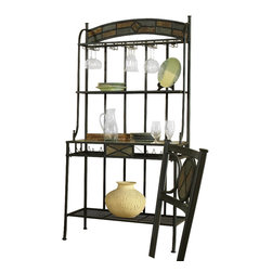 Steve Silver - Carolyn Bakers Rack - The Carolyn Bakers Rack is an excellent addition to your kitchen or dining room. Combining decorative accents like faux slate inlays against a rich black finish while also providing the right amount of storage for all of your entertaining needs makes this piece a necessity.