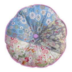 Garden Candy - Round Patchwork Floor Cushion, Patchwork Pink Piping - Garden Candy's Round Patchwork Cushion can be used as a one-of-a-kind pillow or as a comfy, stylish floor cushion.  This pastel design is especially cute as a sit-upon for the young ladies in your life as they work on their latest craft trends or read a great book.