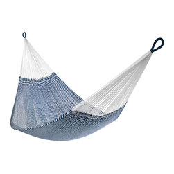 Yellow Leaf Hammocks - Seersucker Navy Hammock, Family-Size (Cap. 550lbs) - Family-Size | Sporting timeless seaside appeal, our 'Vineyard Haven' Hammock is 100% handcrafted by artisan weavers for maximum comfort.