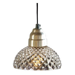 Antique Glass Honeycomb Lamp - Beautiful mercury glass combines with textured glass to create a delightful pendant light that shimmers with style.  These would be great hanging over a bar area in a kitchen or over a desk or workspace in a home office.